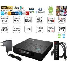 Mini PC Android 7.1 kodi 17.6 predvajalnik 4K UHD TX92 S912 8Core 3GB/32GB Android TV BOX