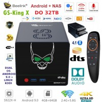 """Beelink GS-King X Android Box NAS 2XSATA 3.5""""  TV Box Android 9 multimedijski predvajalnik UHD 4K, 6 jedrni S922X-H, 4/64GB glasovno upravljanje"""
