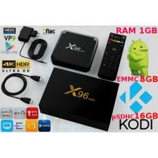 Mini PC X96 Dvosistemski Kodi 18 predvajalnik 4K in Android 7, 4 jedra, RAM 1GB Pomnilnik 16GB + 8GB