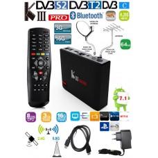Mini PC KIII Pro Android 7 z sprejemnikom DVB-S2, T2, C Kodi 18+ predvajalnik 4K UHD Amlogic S912 8 jedrni, RAM 3GB Pomnilnik 16GB