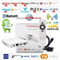 Android box 4K UHD Thomson THA100 Amlogic S905X2 , HDR10, H.265/HEVC, USB 3.0, Wifi 5, LAN, 2/8GB Android 10, bele barve