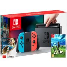 Nintendo Switch V2 Neonsko rdeč-moder Zelda plus Amiibo