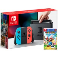 Nintendo Switch Neonsko rdeč-moder in Mario + Rabbids Kingdom Battle