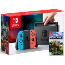 Nintendo Switch Neonsko rdeč-moder in Minecraft z paketom Super Mario Mesh Up