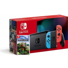 Nintendo Switch Neonsko V2 rdeč-moder in Minecraft z paketom Super Mario Mesh Up