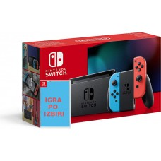 Nintendo Switch V2 Neonsko rdeč-moder JC in igra po izbiri
