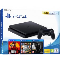 SONY igralna konzola Playstation 4 Slim 1TB 3 igre:  Red Dead Redemption II, GTA 5 Premium Ed., The Last Of As