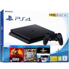 SONY igralna konzola Playstation 4 Slim 1TB 3 igre:  Red Dead Redemption II, GTA 5 Premium Ed., Heavy Rain ABC