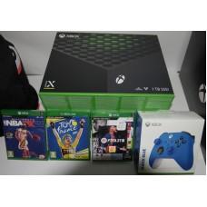 Microsoft igralna konzola XBOX SERIES X 1TB 4K 120fps UHD slovenski športni komplet 3 igre in dodatni kontroler Shock Blue