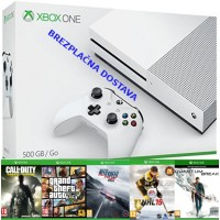 Microsoft igralna konzola XBOX ONE S 500GB in Grand Theft Auto GTA 5 (V) + 4 igre