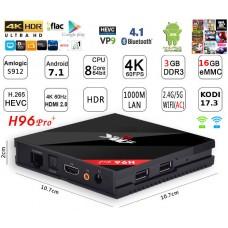 Mini PC Android 7.1 kodi 17.6 predvajalnik 4K UHD H96 Pro+S912 8 jedrni 3GB/16GB Android TV BOX