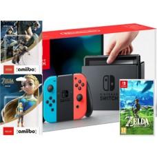 Nintendo Switch Neonsko rdeč-moder Zelda plus komplet Amiibo